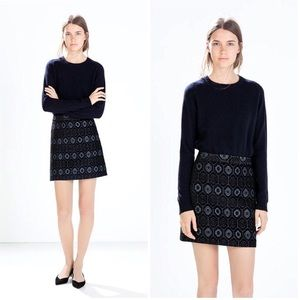 Zara | Blue Black Geometric Jacquard Mini Skirt S